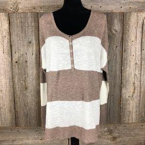 Free People Beach Sweater Henley stripe Small